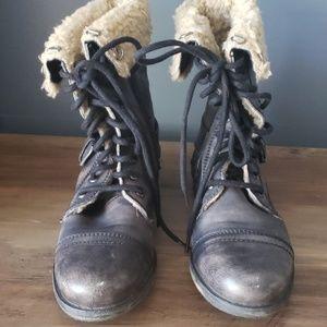 Aldo Distressed Combat Boot with Fur